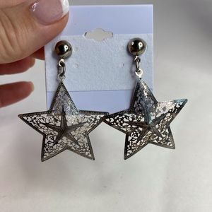 Vintage Silver Star Southwest Drop Dangle Earrings
